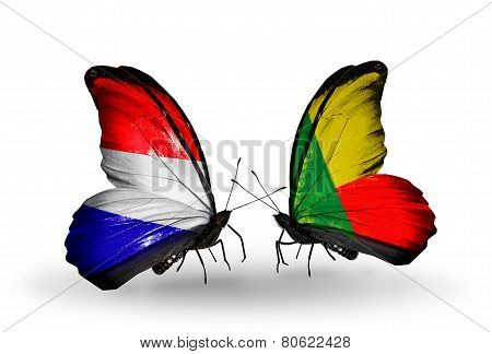 Two Butterflies With Flags On Wings As Symbol Of Relations Holland And Benin