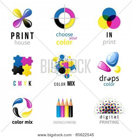 9 CMYK logo templates on white background