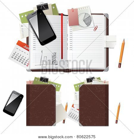 Open and closed diary and office supplies