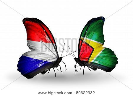 Two Butterflies With Flags On Wings As Symbol Of Relations Holland And Guyana