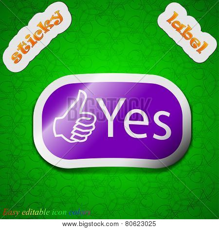 Yes Icon Sign. Symbol Chic Colored Sticky Label On Green Background. Vector