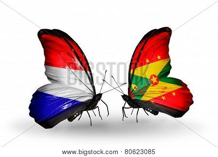 Two Butterflies With Flags On Wings As Symbol Of Relations Holland And Grenada