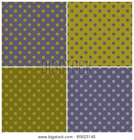 Tile vector dark polka dots pattern set