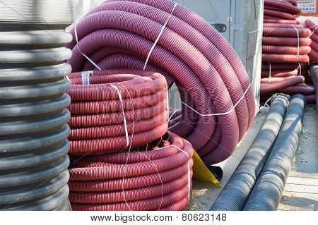 Tubes Of Pvc On The Street For Canalization Of The City