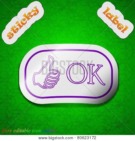 Ok Icon Sign. Symbol Chic Colored Sticky Label On Green Background. Vector