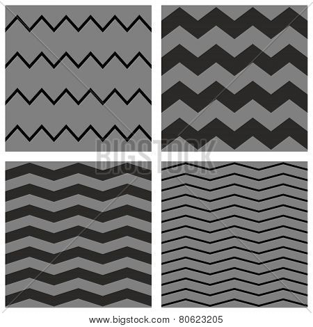 Tile chevron vector dark pattern set with black and grey zig zag background