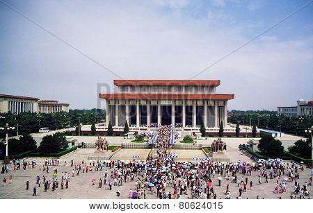Mausoleum Of Mao Zedong In Tienanmen Square In Beijing