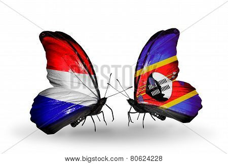 Two Butterflies With Flags On Wings As Symbol Of Relations Holland And Swaziland