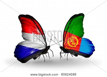 Two Butterflies With Flags On Wings As Symbol Of Relations Holland And Eritrea