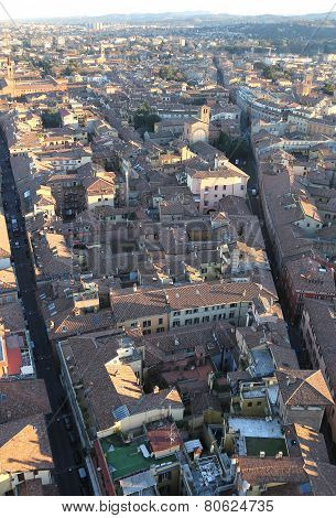 Panoramic Views Of The City Of Bologna From The  Hightower