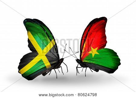 Two Butterflies With Flags On Wings As Symbol Of Relations Jamaica And  Burkina Faso