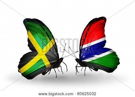 Two Butterflies With Flags On Wings As Symbol Of Relations Jamaica And Gambia