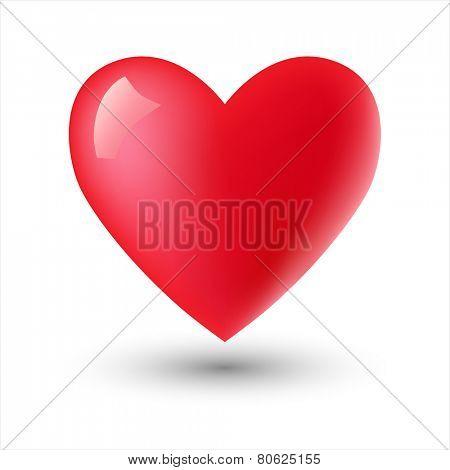 Glossy heart shape on white. Vector eps 10.