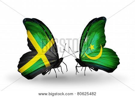 Two Butterflies With Flags On Wings As Symbol Of Relations Jamaica And Mauritania