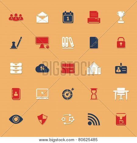 Business Management Classic Color Icons With Shadow