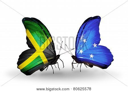 Two Butterflies With Flags On Wings As Symbol Of Relations Jamaica And Micronesia
