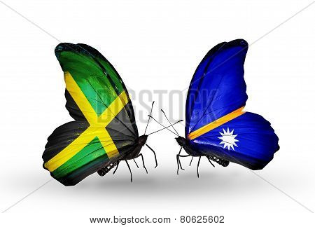 Two Butterflies With Flags On Wings As Symbol Of Relations Jamaica And Nauru