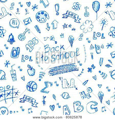 Vector seamless doodle school pattern, hand drawn with pencil.