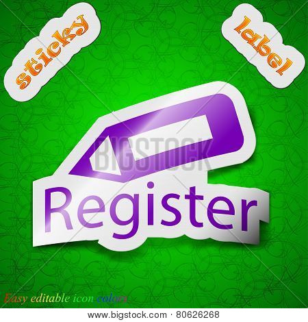 Register Icon Sign. Symbol Chic Colored Sticky Label On Green Background. Vector