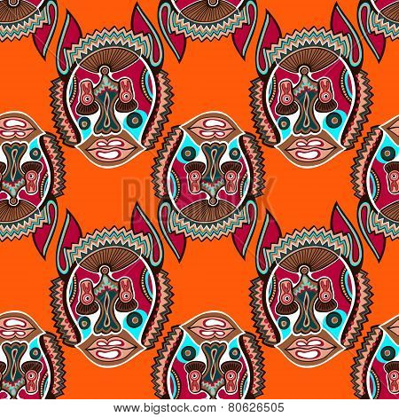 seamless pattern fabric with unusual tribal animal