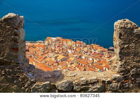 Cefalu Old Houses Through The Bastion's Wall