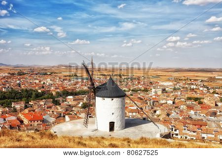 Ancient windmills in the sunny summer day