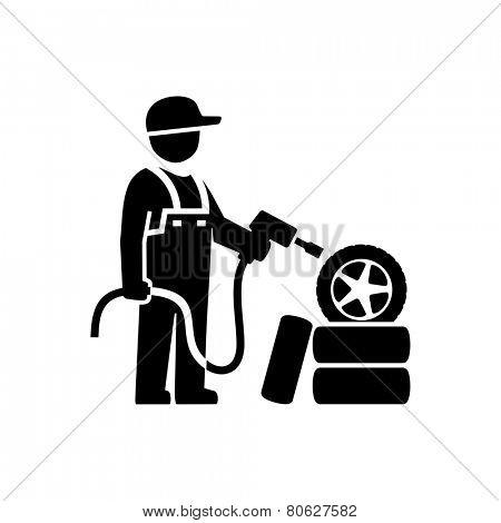 Car Mechanic Figure Pictogram Icon