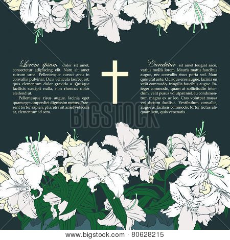 Vector funeral card with bouquets of white lilies, place for text. Cross in the middle of composition.