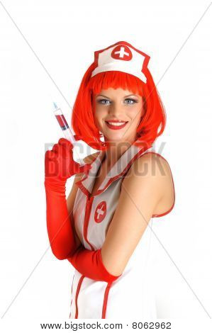 Beautiful Funny  Female Doctor With Red Hair In Medical Uniform. Isolated On White Background