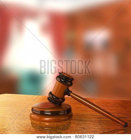 Symbol of justice - judicial 3d gavel