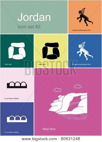 Landmarks of Jordan. Set of color icons in Metro style. Raster illustration.