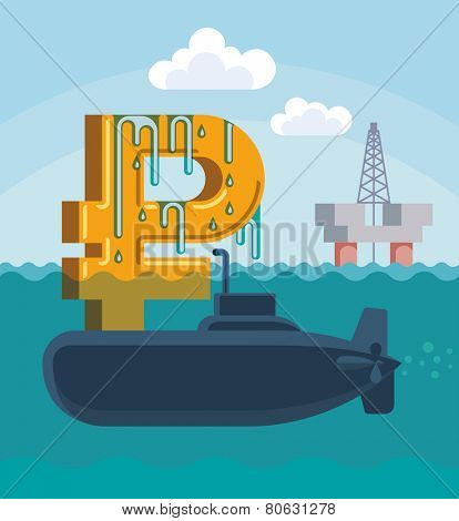 Surfacing of Russian rouble on the hull of military submarine. Raster image.