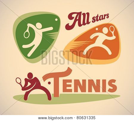Set of vintage styled tennis labels. Raster image.
