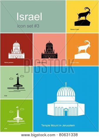 Landmarks of Israel. Set of color icons in Metro style. Raster illustration.