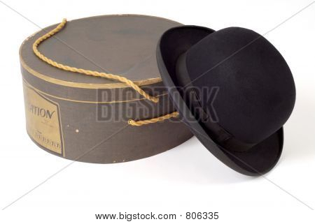 Old derby hat with hat box