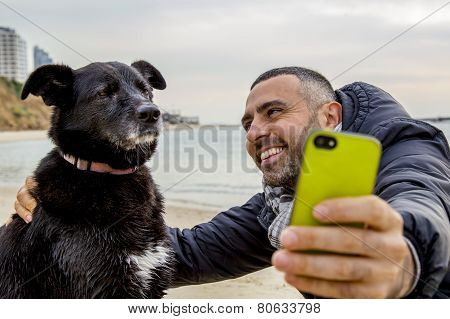 Grumpy Dog Taking Selfie