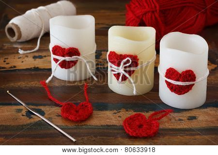 Candles With Handmade Crochet Red Heart With Skein For Saint Valentine's Day