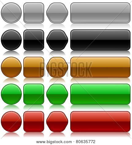Metallic embossed blank buttons set in different colors and shapes.