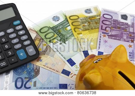 Piggy Bank And Euros (eur).