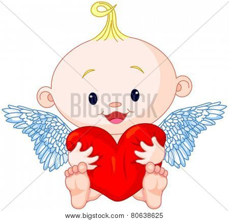 Valentine�?�¢??s Day Cupid holds heart