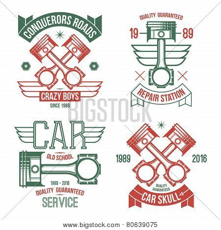 Car Engine Piston Emblems