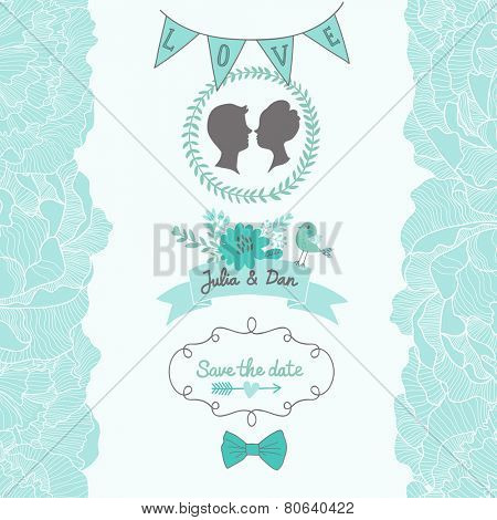 Gentle Save the Date card in blue colors with cute bird and flowers. Stylish romantic wallpaper ideal for wedding designs. Vintage wedding background in vector
