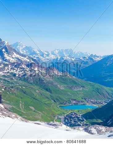View from the Grande Motte glacier at Tignes