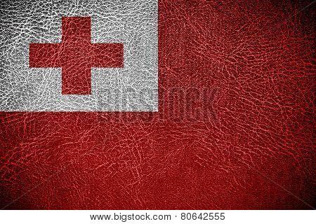 Tonga Flag on leather texture