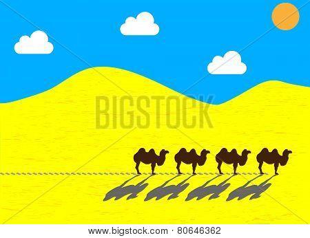 Flat camels going through the desert