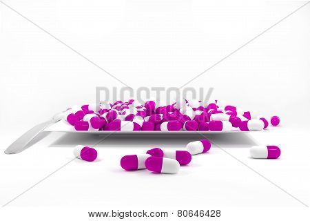 Large Pile Of Purple Colored Pills On White Plate