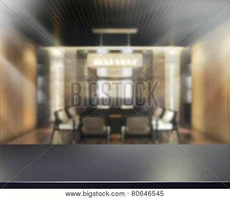 Table Top And Blur Office Background