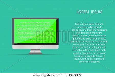 Realistic blank computer monitor icon
