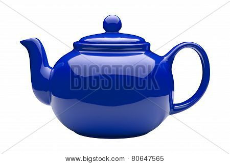 Blue Ceramic Teapot (clipping Path)