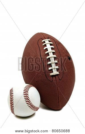 Baseball And Football Isolated